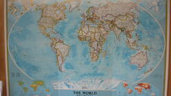 The Dwelling Place Photo Gallery: The very interesting world map just inside the front door of the church.